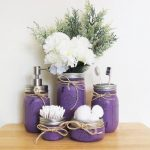 Mason Jar Bathroom Set Purple, Bathroom Storage, Rustic, Farmhouse Bathroom, Bathroom Decor