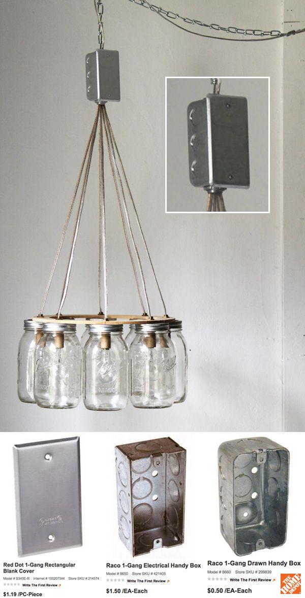 Mason Jar Chandelier, Hanging Mason Jar Pendant Lighting Fixture, Ring With 7 Clear Quart Jars, Bulbs Included