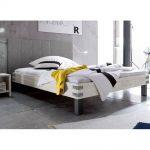 Massivholz Doppelbett Talca - 200x220 cm - Akazie weiß - Massivholzbet