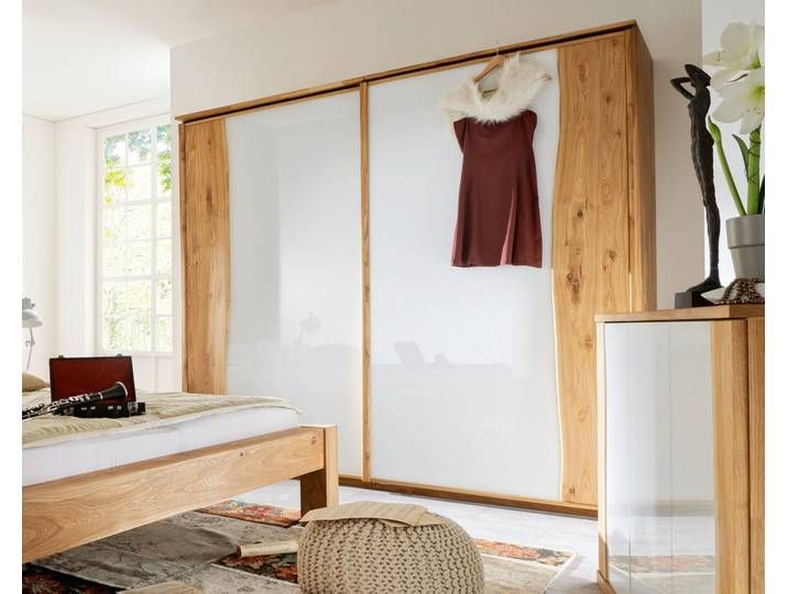 Massivholz Schiebetüren-Kleiderschrank Baumkante 300 cm / Wildeiche Bi