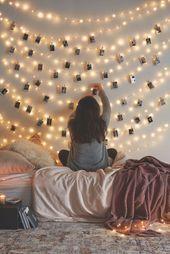 Mein #dream ## Schlafzimmer # !! #Ich #hänge #meine #Fotos #an #der #Wand #mit #diesem #klein…