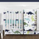 Mod Dinosaur Blue and Green Crib Bedding Set