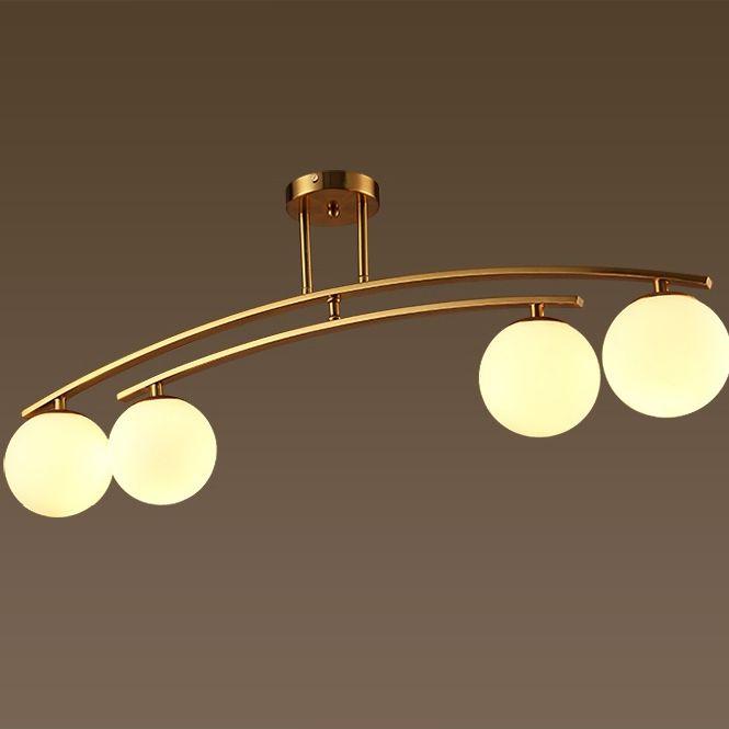 Modern 4-Light White Glass Globe Brass Metal Semi Flush Mount Ceiling Light Fixture