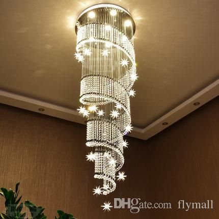 Modern Chandelier Large Crystal Light Fixture For Lobby Staircase Stairs Foyer Long Spiral Lustre Ceiling Lamp Flush Mounted Stair Light Chandelier Shade Glass Chandelier Shades From Ok360, $844.23| DHgate.Com