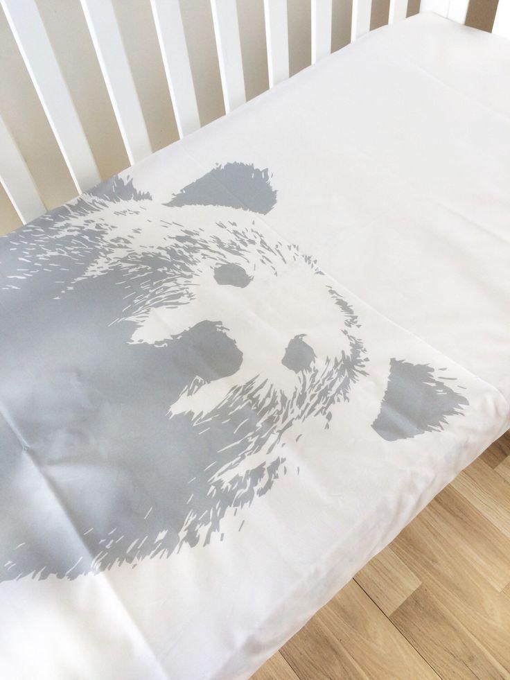 Modern ausgestattet Krippe Blatt, Babybett Blatt, Grizzly Bär Babybett Bettwäsche, Rauch grau Babybettlaken – Kinder Bett