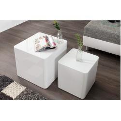 Moderner Couchtisch 2er Set Monobloc 40cm Hochglanz weiß Beistelltisch Riess AmbienteRiess Ambiente
