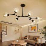 Moderner minimalistischer Baumast-Klarglas-Globus-Schatten-justierbares 6-Licht-großes hängen...