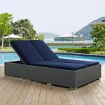 Modway Furniture Sojourn Outdoor Patio Sunbrella® Double Chaise In Chocolate Navy Eei 1983 Chc Nav | Bellacor