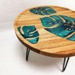 Monstera Couchtisch, Epoxidharz Tisch, dekorativer Tisch, moderner Innenakzent, Housewarmingg...