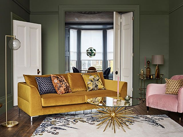 Mustard Yellow Sofa Living Room  Pinterest 100: our top 5 decorating trends to t…