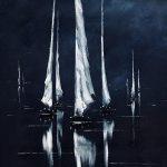 Nacht segelboote malerei öl reflexion kunstwerk leinwand kunst seelandschaft ab... - Painting Ideas