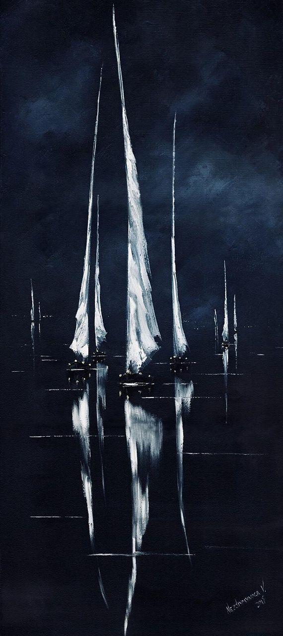 Nacht segelboote malerei öl reflexion kunstwerk leinwand kunst seelandschaft ab… – Painting Ideas
