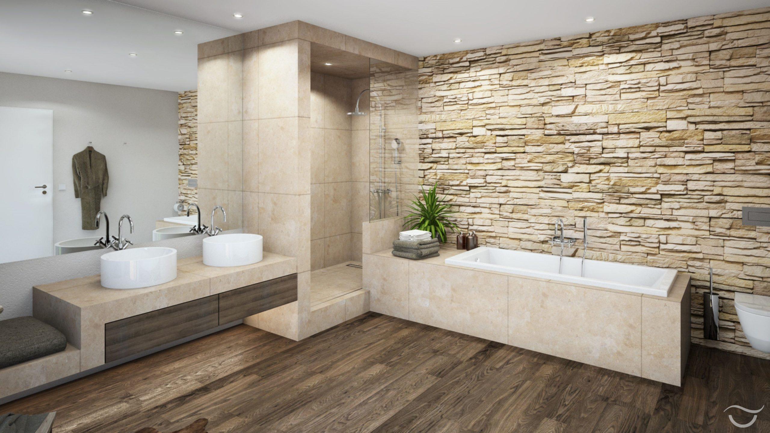 Natürliche Materialien wie Holz und Natursteine, sowie auch warme Farben erzeug…