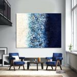 Navy Blue art Painting on Canvas Large Abstract Modern art Oversize art Blue Wall Art Living room art Apartment decor Contemporary art Niks