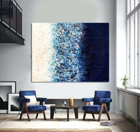 Navy Blue art Painting on Canvas Large Abstract Modern art Oversize art Blue Wall Art Living room art Apartment decor Contemporary art Niks