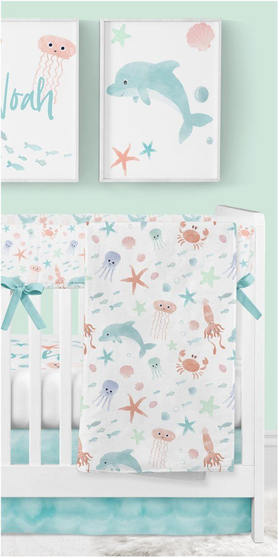Ocean Crib Bedding, Baby Boy, Neutral Baby Bedding, Underwater Nursery, Wall Art, Minky Blanket, Fis