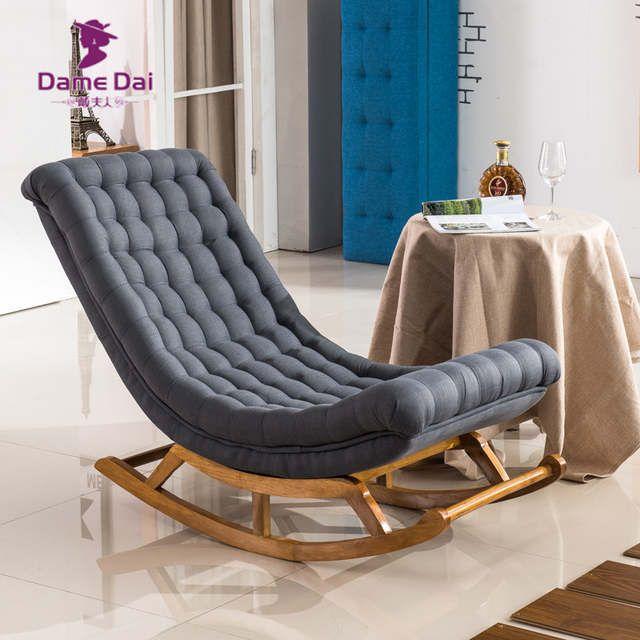 Online-Shop Moderne Design Schaukel Sessel Stoff Polster und Holz Für Home Möbel Wohnzimmer Erwachsene Luxus Schaukel Stuhl Chaise | Aliexpress Mobil