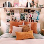 Orange warm tones bedroom bedding shelf room decoration cozy wall picture poster