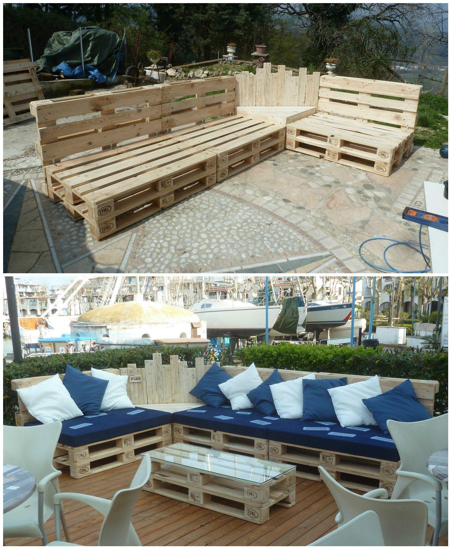 Outdoor Pallet Sectional Set / Maxi Divano Fatto Con I Pallet • 1001 Pallets