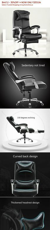 PU Office Boss Chair Lifted Rotated Household Computer Chair Reclining with Foot…,  #Boss #…