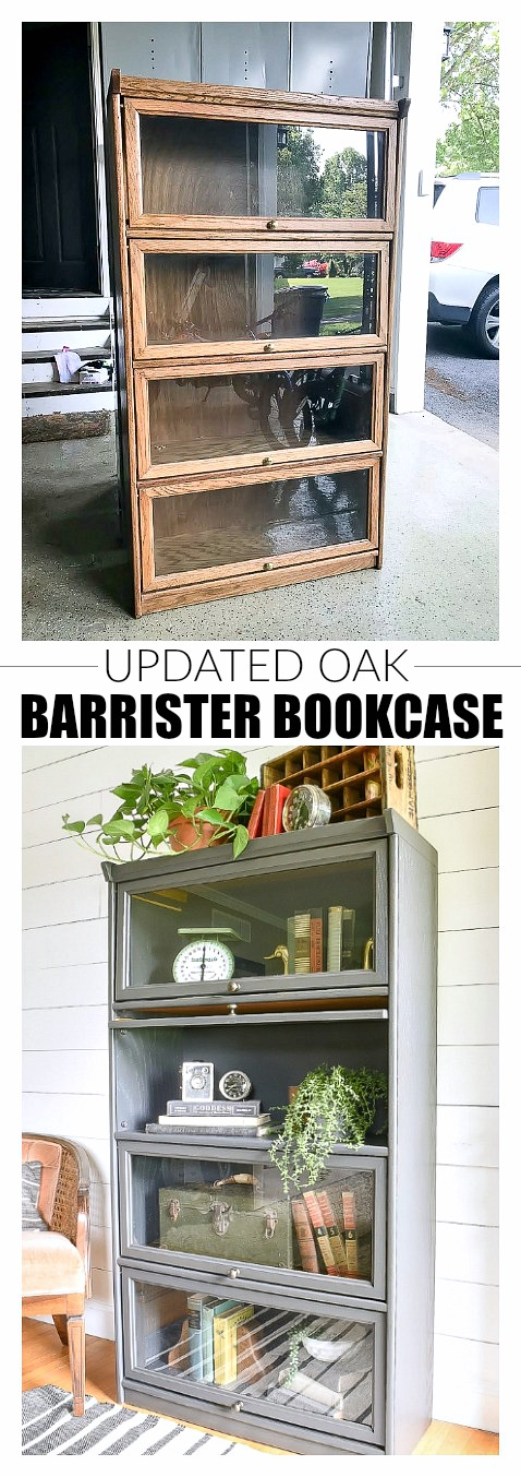 Painted Vintage Barrister Style Bookcase #palletbedroomfurniture Styled with uni…