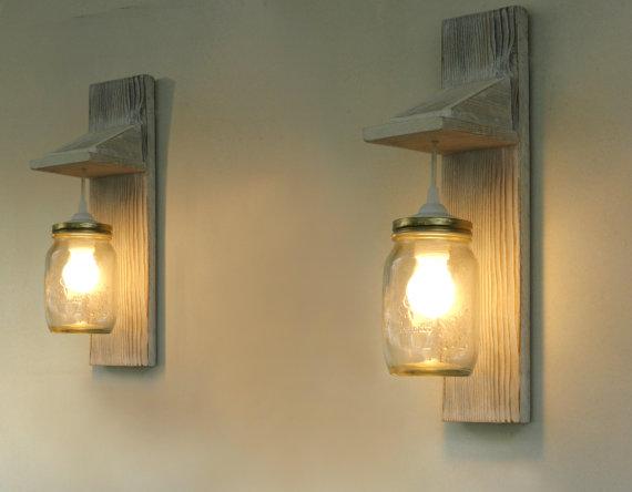 Pair of Wall lamp, Reclaimed wood wall sconce, Mason Jar lighting, wall lamp, reclaimed, industrial lighting, Mason jar lamp, free shipping