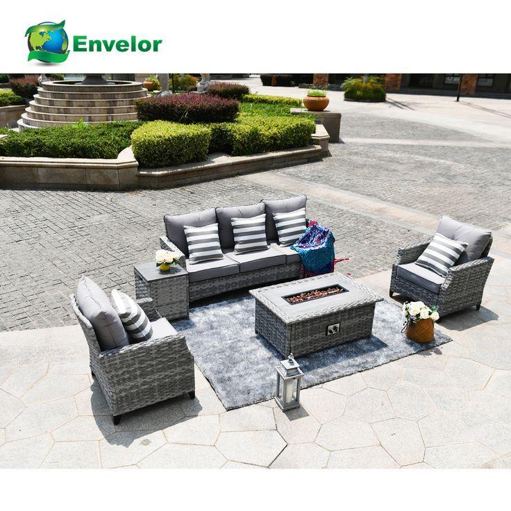 Patio outdoor furniture wicker sofa set