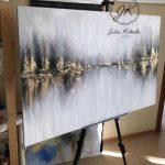Peinture acrylique abstraite de paysage, peinture de feuille d'or, art de mur de salon, g...