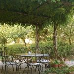 Pergola garden climbing plants greenery wrought iron furniture