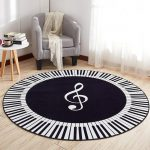 Piano CL250972MDC Round Carpet | Indoor Circular Round Rug | 3 ft 4 ft 5 ft | Flat Weaven Non-Slip | Resists Stains