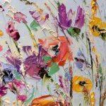Pintura al óleo flores paletas cuchillo pintura en lienzo abstracto flor pintura personalizada sala de estar pared arte color