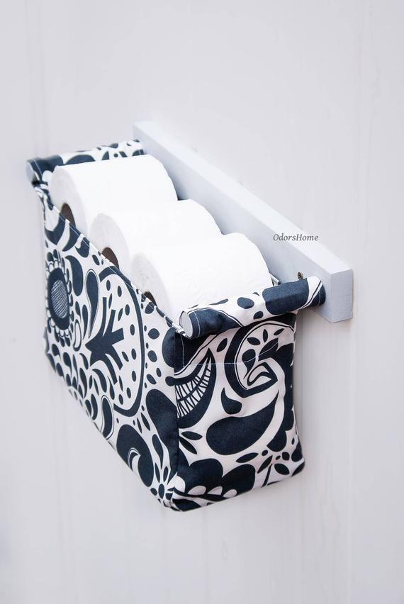 Porte-papier hygiénique décoratif – organisateur de toilette – porte-papier hygiénique – organisateur de salle de bain de style scandinave moderne avec un tissu de fleurs à la cuillère – bingefashion.com/fr