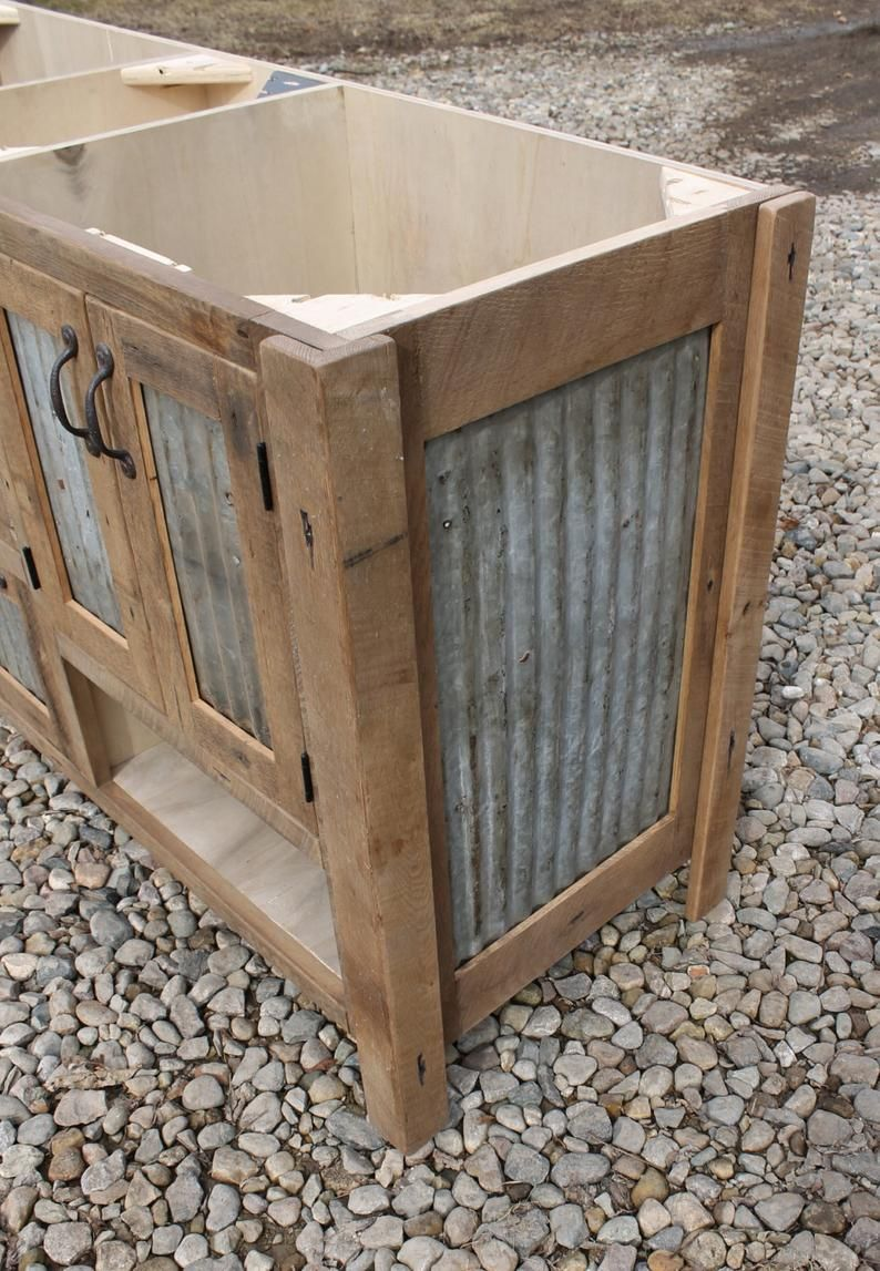 Rustic Bathroom Vanity (60″) – Dual Sink, Reclaimed Barn Wood w/Barn Tin #9490