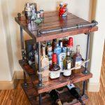 Rustic Pipe Bar Cart - Industrial Pipe & Wood bar / Unique bars / whiskey bar / wine cart / kitchen island / rollaway bar / rustic furniture