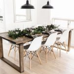 Rustic farm house table, white dining room chairs, black modern pendant lights d… - pickndecor.com/furniture