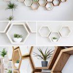 Rustikales Wandregal aus massiver Eiche à Sechseckweiß - Wood Design
