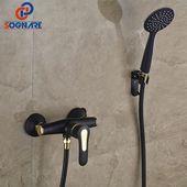 SOGNARE Badezimmerarmaturen Duscharmaturen Set Schwarz Mit Goldenen Wasserhähne…