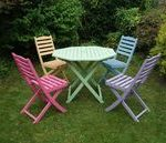 SOLD Colourful Hand Painted Hardwood Table and Chair by Upva...- SOLD Colourful ...