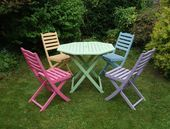 SOLD Colourful Hand Painted Hardwood Table and Chair by Upva…- SOLD Colourful …