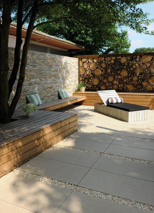 Sandfarbene Terrasse, gestaltet mit 50 x 100 cm g… – #beige #cm #gestaltet #mi…