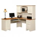 Sauder Harbor View Corner Computer Desk with Hutch - Antiqued White - Walmart.com