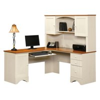 Sauder Harbor View Corner Computer Desk with Hutch – Antiqued White – Walmart.com