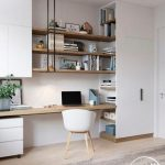 Scandi style home office interior design open shelving above desk Officedesigns