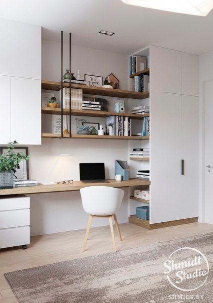Scandi style home office interior design open shelving above desk Officedesigns
