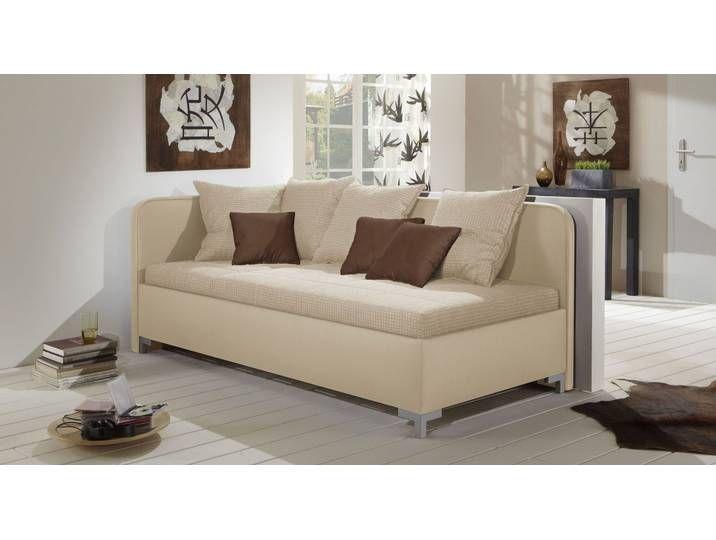 Schlafsofa mit Lattenrost und Federkern-Matratze sandfarben – Anteo –