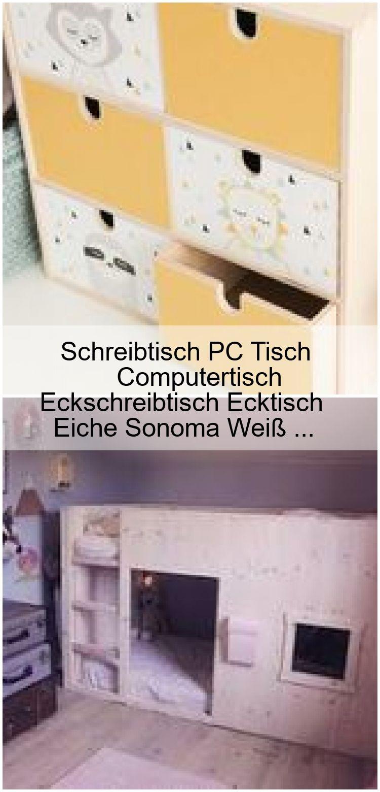 Schreibtisch PC Tisch Computertisch Eckschreibtisch Ecktisch Eiche Sonoma Weiß …