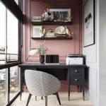 Schreibtisch mit modernem Bürostuhl der Mitte des Jahrhunderts und rosa Akzentwand - https://bingefashion.com/home