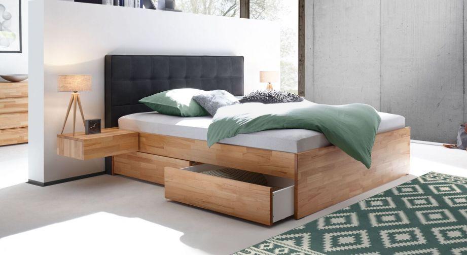 Schubkasten-Doppelbett aus Kernbuche mit Polsterwand – Mirenda