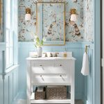 """Schumacher on Instagram: """"Our #OiseauxEtFleurs wallpaper gives personality to this charming bathroom! #schustagram"""""""