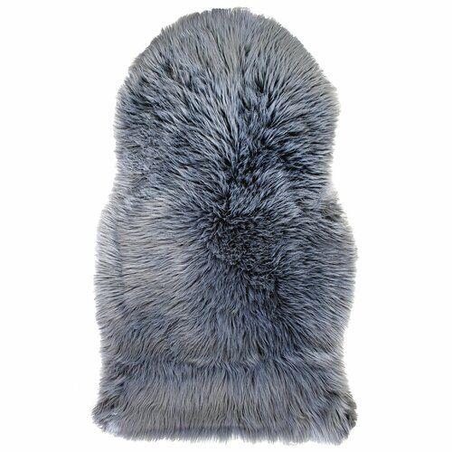 Sehrazat Faux Sheepskin Dark Grey Rug | Wayfair.co.uk